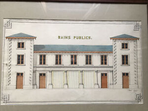 #x27;Bath Public#x27; Large Drawing Antique IN L' Ink And Watercolour Signed Raoul