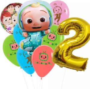 13pcs Cocomelon Foil Latex balloons birthday party Decorations Supplies.