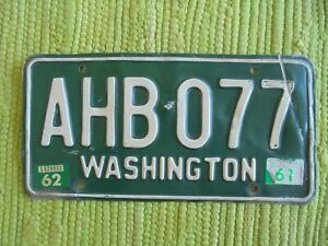 61 62 Washington License Plate WA 1961 1962 Tag AHB 077