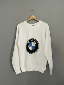 Vintage Size XL Fruit Of The Loom BMW White Logo Pullover Sweatshirt