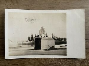 Lion Fountain 1909 World's Fair Seattle WA Real Photo Postcard RPPC