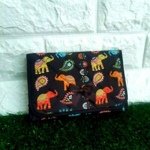 NARAYA Cosmetic Bag Makeup Purple Elephant Color CP187 with Mirror Thailand $25.00