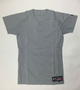 Under Armour Stock Full Button Baseball Jersey Womens Small Gray Mesh Back $17.60