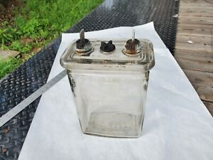 Vintage Antique Clear Glass EXIDE Battery Jar and Lid with Post