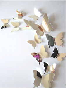 12 pcs 3D Mirror Plastic Butterfly wall stickers for room and Home Decoration.