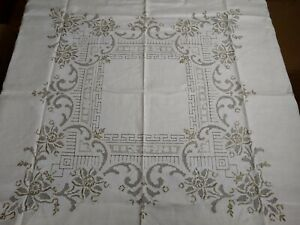 Vintage Square Table Cloth Madeira Hand Stitched with Flowers White $39.00