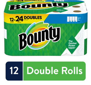 Bounty Select A Size Paper Towels White 12 Double Rolls = 24 Regular Rolls