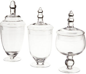 Apothecary Jar Set Glass Clear Canister Candy Vintage Lid Storage Large 3 Piece