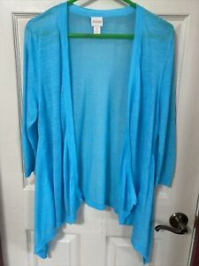 Chico's Aqua Blue Sheer Open Front Ramie Blend Cardigan Size 3 3 4 Sleeve $13.95