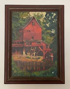 Antique Signed amp; Framed Original Oil Painting Of Red Mill Nature Scene $75.00