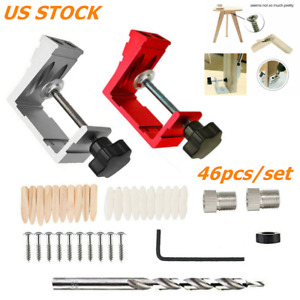 46 Pocket Hole Jig Kit Dowel Drill Joinery Screw Carpenters Woodwork Angle Tool $19.99