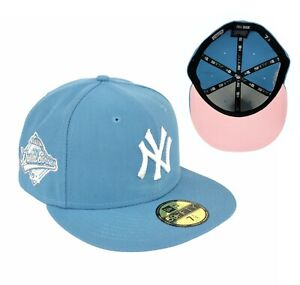 Yankees Sky Blue 1996 World Series Side Patch New Era Fitted Hat Cap Pink UV $59.99