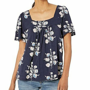 New Lucky Brand Cotton Stretch Square Neck Shirt Top Blouse Size L Navy Blue