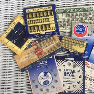 Vintage Sewing Items From Old Sewing Cabinet Buckles Hooks Snaps Lot $15.00