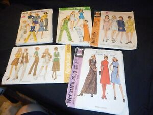 Vintage Sewing Patterns 1960s 70s Miss Size 8 9 10 Lot of 5 Pack D $10.00