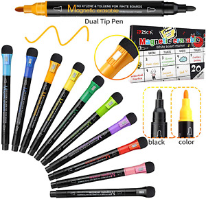 20 Pack Dry Erase Markers Magnetic Dual Fine Tip Erasable White board Markers Dr
