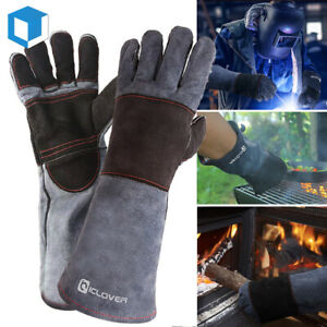 Leather Forge Welding Gloves Heat Fire Resistant BBQ Grill Oven Stove Work Mitts $17.99