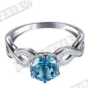 10K White Gold Prong Pave Setting Flawless Swiss Blue Topaz Natural Diamond Ring $277.00