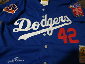NWT BLUE LA Dodgers #42 Jackie Robinson 2patch sewn SPECIAL EDITION Jersey LG $54.71