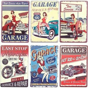 Vintage Metal Signs for Garage Retro Wall Decor 8 x 11.8 in 6 Pack