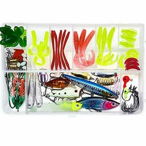 Fishing Lures 92pcs Freshwater and Saltwater Fishing Lure Kits with Frog