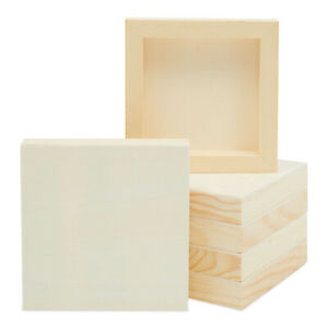 6 Pack 5quot;x5quot; Unfinished Square Wood Paint Pouring Panel Boards for Art Craft $15.99