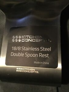 Stainless Steel Double Spoon Rest new