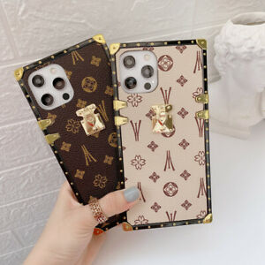 For iPhone 12 11 Pro Max XS XR 6 7 8 Luxury Retro Leather Metal Square Case $10.88