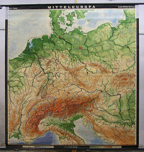 Schulwandkarte Wall Map Central Europe Germany 194x209c 1969 Vinage Chart Map $303.04