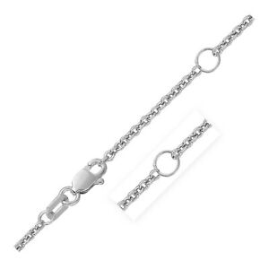 Double Extendable Cable Chain in 14k White Gold 1.9mm $355.98