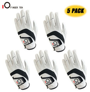 Pack Of 5 Golf Gloves Left Hand Right White Leather Breathable All Weather Soft $23.39