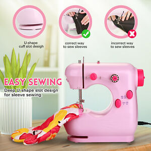 Pink 2 Speed Portable Mini Sewing Machine with Extension Table Kids and Adults $26.99