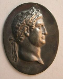 1519 Antique custom made Roman King sterling silver plaque $195.00