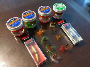 Lot of 13 Trout Bait amp; Lures Lure Fly#x27;s 4 Atlas Egg Jars 2 Rapala lures8 Fly#x27;s