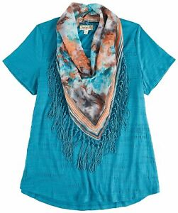 OneWorld Womens Scarf Textured Top $19.99