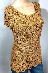 Gold Knit Overlay Shirt Small Rayon Michelle Nicole $16.00
