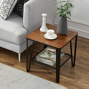 Industrial End Side Sofa Table Night Stand with Metal Storage Shelf Living Room