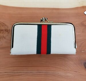 Vintage Sew Clutch Gucci Stripe Sewing Kit Travel Coin Purse Compact Manicure $7.50