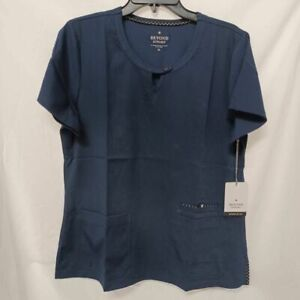 Beyond Scrubs Womens Spark Blouse Navy Keyhole Stretch Round Neck Top M New