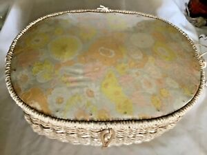 Vintage Antique Wicker Sewing Box Basket w Notions $32.49