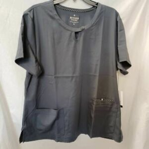 Beyond Scrubs Womens Spark Blouse Pewter Gray Round Neck Stretch Top XL New