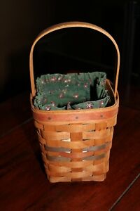 1992 4x4x6quot; LONGABERGER BASKET W HANDLE GREEN FLORAL FABRIC LINER BROWN STRIPS $17.99