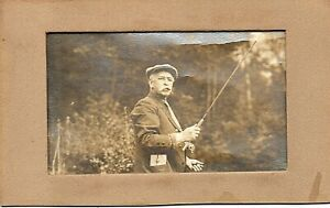 73067. circa 1910 Albumen Photo Old Fly Fisherman on River in Maine