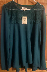 NWT Women's Size XL Lucky Brand Waffle Knit Teal Top Lace Accent