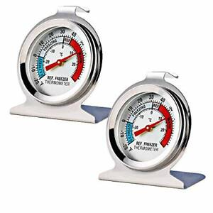 2 Pack Refrigerator Freezer Thermometer Large Dial Thermometer NEW