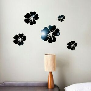 3D Mirror Floral Art Removable Wall Mural Decor Acrylic Decal Wall Sticker Home