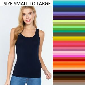 Womens Tank Top Scoop Neck Solid T Stretch Shirt Basic Sleeveless Size S M L
