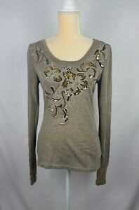Miss Me Womens Sequined Knit Long Sleeve Top sz M $19.50