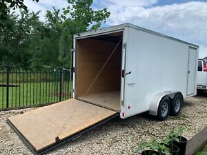 2017 ENCLOSED V NOSE CARGO UTILITY TRAILER 16#x27; WITH RAMP AND SIDE DOOR