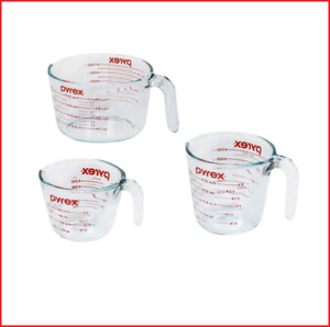New Pyrex Glass Measuring Cup Set 3 Piece Microwave and Oven Safe Clear